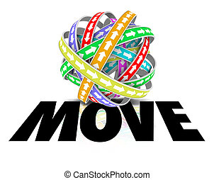 Move Word Ball Sphere Arrows Motion Forward Mobility