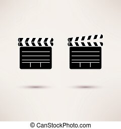 Movie Clapper. Vector set of icons in a flat style.