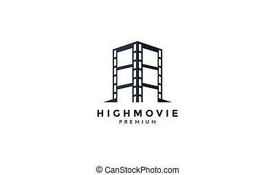 movie with skyscraper logo vector icon illustration design