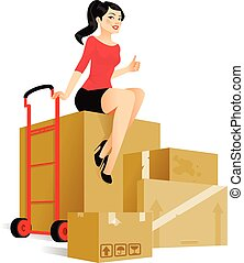 Cute young woman sitting on boxes is ready to move in a new place