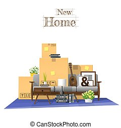 Moving home concept background with cardboard boxes and furniture in new living room 5