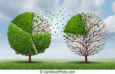 Moving market share with a group of trees shaped as pie chart financial graphs as a finance concept of transferring funds and equity from one company or industry to another on a summer sky background.