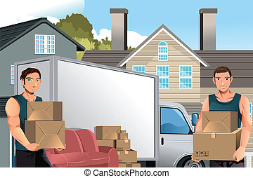 A vector illustration of moving men carrying boxes in front of their truck