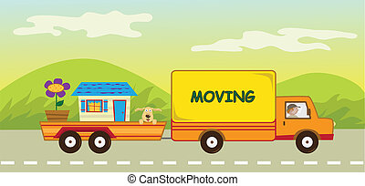 moving truck that carries a dog, a house and a big flower. Eps10