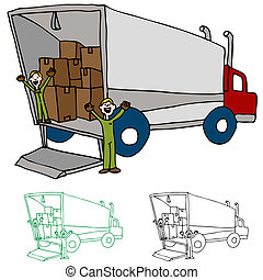 An image of a moving truck with workers.