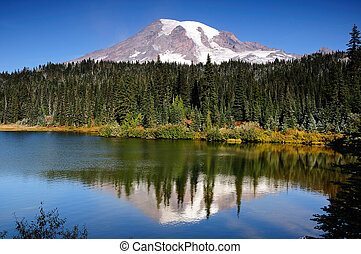 Scenic view of Mount Rainier reflected across the reflection lakes on a clear day