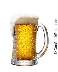 mug of beer overflow, studio shot