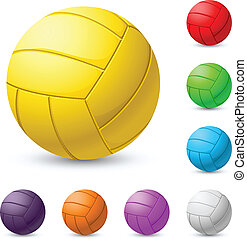 Multi-colored volleyball realiste. Illustration on white background