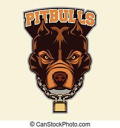 Multi Colors Illustration Of Pit bull Head Mascot