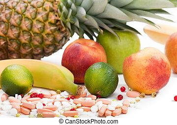 Healthy eating tropical multi fruit vitamin pills