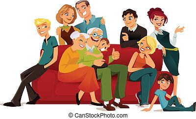 Multi generation family posing arround a red sofa