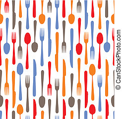 Multicolored cutlery icons backgrou