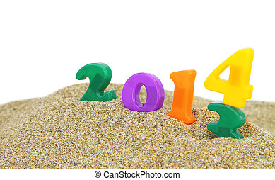 Multicolored new year 2014 on the sand