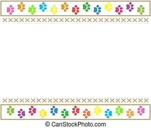 Multicolored paw prints animals border
