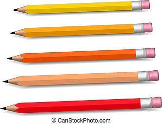 multicolored pencils growing row