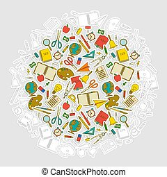 Multicolored School Tools Round Composition