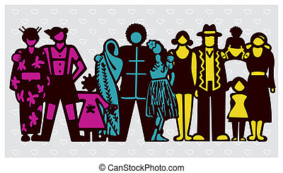 Vector illustration symbolizing a happy multicultural Society.