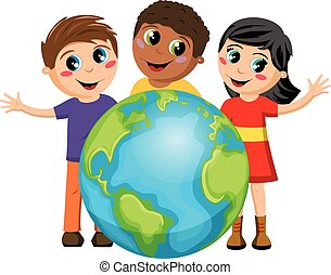Multiracial Children kids earth isolated
