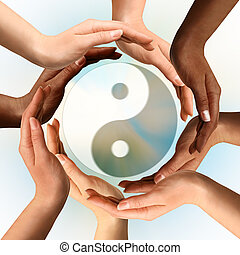 Multiracial Hands Surrounding Yin Yang symbol