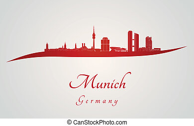 Munich skyline in red and gray background in editable vector file