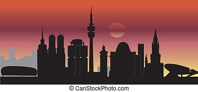munich skyline sunset
