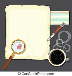 Murder mystery detectives desk with steaming coffee. Great for a murder mystery party or a crime novel party. Old stained paper and note card with bloody thumbprint, magnifying glass, fountain pen and a steaming cup of coffee on a steel desk