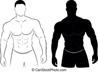 Vector illustration of muscle man silhouette concept