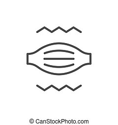 Muscle pain line outline icon isolated on white. Vector illustration