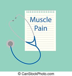 muscle pain written in a notebook- vector illustration