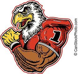 muscular eagle football mascot wearing a jersey