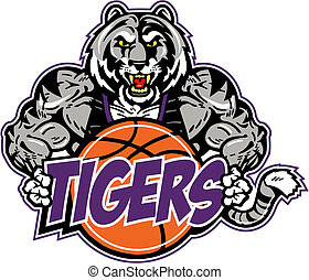 muscular tiger with basketball