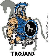 muscular trojan with sword and shield