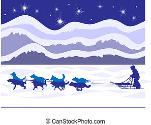 Classic winter sight in the frozen north, a musher and dog sled team fly gracefully across the frozen tundra. EPS 8 compatible, all layers labeled for easy editing.