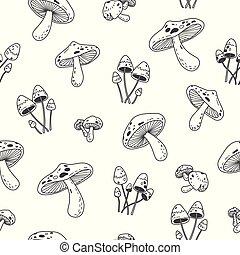 Mushroom doodle vector Seamless Pattern wallpaper background white