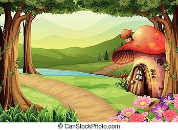 Mushroom house in the woods