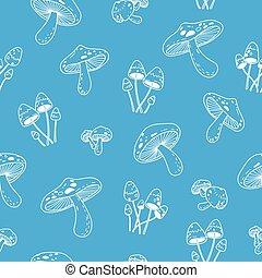 Mushroom vector Seamless Pattern repeat wallpaper tile background doodle illustration blue