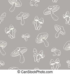 Mushroom vector Seamless Pattern repeat wallpaper tile background doodle illustration