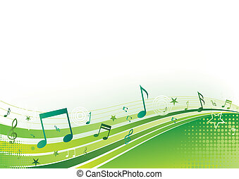 note, music, green background
