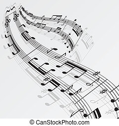 Wave music notes background. eps10