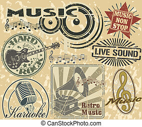 The image with a set of musical stamps