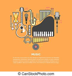 Musical instruments formed in heart isolated illustration