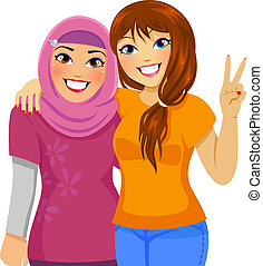 Muslim girl and Caucasian girl being friends