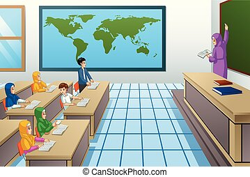 Muslim Students and Teacher in Classroom Illustration