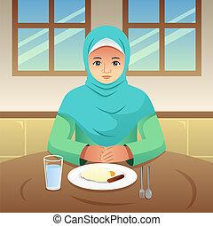 Muslim Woman Eating Breakfast at Home Illustration