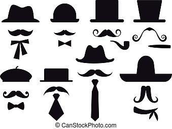 mustache and hats, vector set