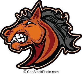 Mustang Stallion Mascot Cartoon Vector Image
