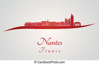 Nantes skyline in red
