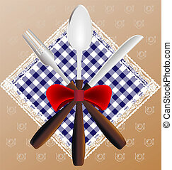 napkin, spoon, knife and fork