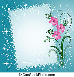 Napkin with lacy edges with flowers, stars and a place for text or photo
