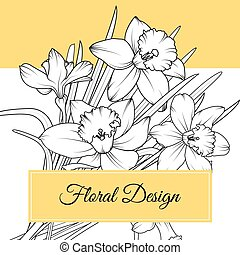 Narcissus daffodil flowers floral design card